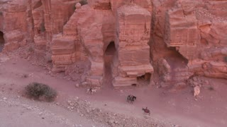 High angle view of sandstone tombs and people riding donkeys in the ancient Nabatean ruins of Petra, Jordan.