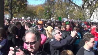 Huge crowds mass in the streets at a political rally in Washington D.C.