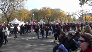 Huge crowds walk in a demonstration in Washington D.C.