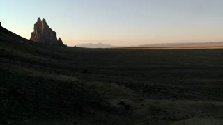 Late dusk behind rocky outcroppings near Shiprock, New Mexico.