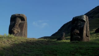 Low angle of giant stone carvings on Easter Island.