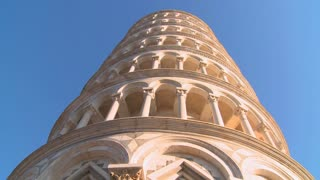 Low angle of the Leaning Tower of Pisa in Italy.