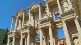Low angle view of an ancient facade at Ephesus, Turkey.