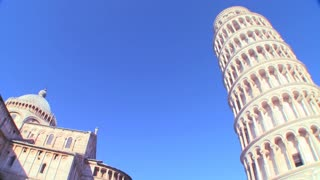 Low angle view of the famous Leaning Tower of Pisa.