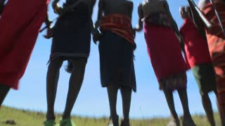 Masai warriors perform a ritual dance in Kenya, Africa.