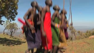 Masai warriors perform a ritual dance in Kenya, Africa.
