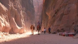Men camels through a narrow canyon in the ancient Nabatean ruins of Petra, Jordan.