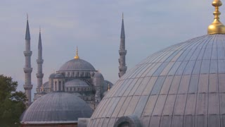 Mosques of Istanbul line up in perspective.