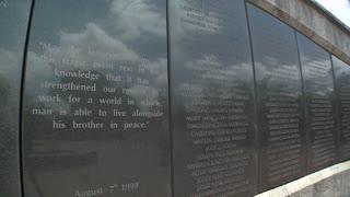 Names on the memorial honoring the victims of the 1998 US Embassy bombing in Nairobi. Kenya.