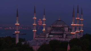 Nighttime at the Blue Mosque, Istanbul, Turkey.
