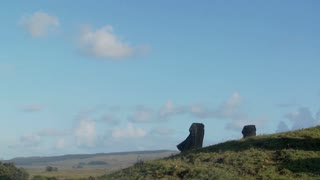 Pan to side view of giant stone carving on Easter Island.