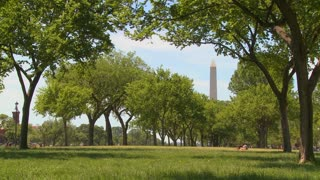 People walk on the parks and gardens in the mall in front of the Washington Monument in DC.