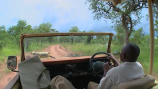 Point of view of a driver driving on a dirt road in Africa.