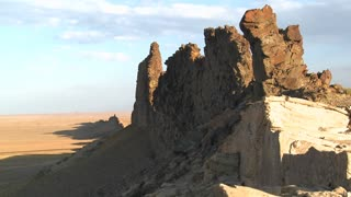 Rocky outcroppings near Shiprock, New Mexico.