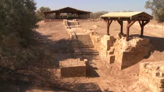 Ruins of the ancient Baptism site of Jesus near the Jordan River.