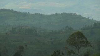 Slow zoom out reveals the Virunga volcano chain on the Rwanda Congo border.