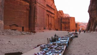 Souvenirs are sold in the ancient Nabatean city of Petra in Jordan.