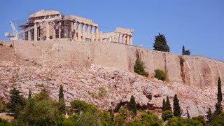 The Acropolis and Parthenon on the hilltop in Athens, Greece.