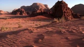 The beautiful desert landscapes of Wadi Rum, Jordan in dawn light.