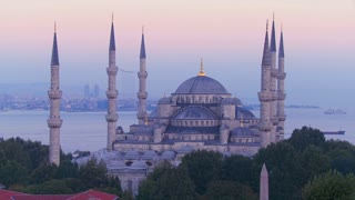 The Blue Mosque in Istanbul, Turkey at dusk.