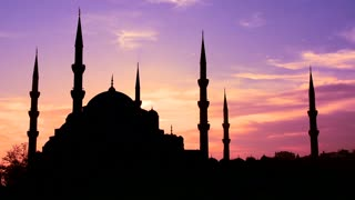 The Blue Mosque in Istanbul, Turkey in purple unset light.