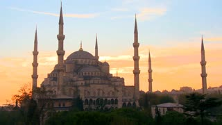 The Blue Mosque in Istanbul, Turkey in sunset light.