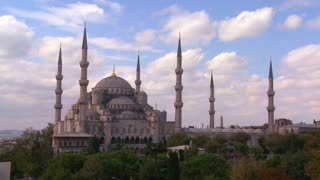 The Blue Mosque in Istanbul, Turkey in time lapse.