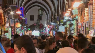 The crowded interior of the Grand Bazaar in istanbul, Turkey.