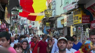 The crowded streets near the Grand Bazaar in istanbul, Turkey.