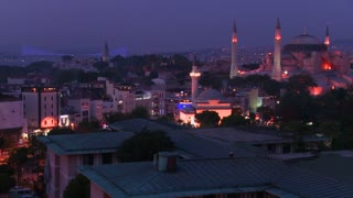 The Hagia Sophia Mosque in istanbul Turkey and the skyline in the distance.