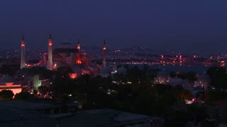 The Hagia Sophia Mosque in istanbul, Turkey at dusk or night.