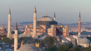The Hagia Sophia Mosque in Istanbul, Turkey, at dusk.