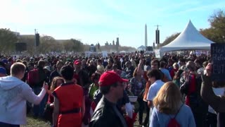 The huge crowds at the on Stewart Stephen Colbert rally in Washington D.C.