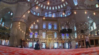 The interior of the Blue Mosque in Turkey.