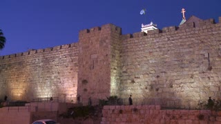 The old city walls of Jerusalem, Israel by night.