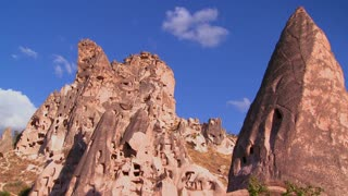 The strange towering dwellings and rock formations at Cappadocia, Turkey.