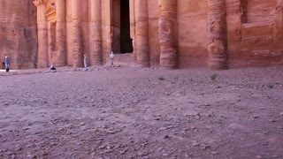 Tilt up to the Monastery tomb  the ancient Nabatean city of Petra in Jordan.