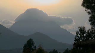 Time Lapse shot of clouds on top of the Virunga volcano chain on the Rwanda Congo border.