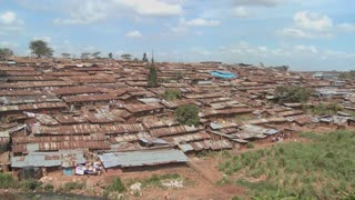View across a poverty stricken slum in Nairobi Kenya.