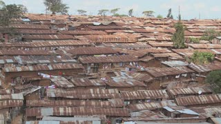 View over a slum region in Nairobi, Kenya.