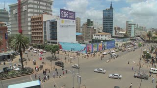 Wide angle view of busy streets in Nairobi, Kenya.