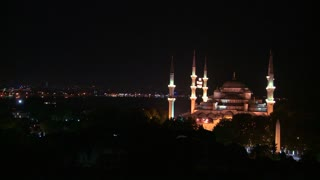 Wide shot at night of the Blue Mosque, Istanbul, Turkey.
