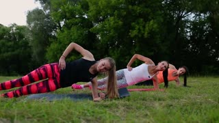 Fit woman doing plank exercise, working on abdominal midsection muscles. Fitness girl core workout in nature
