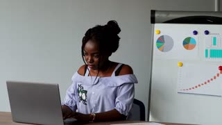 Portrait of an Afro American beautiful girl sitting at laptop in office in office clothes on the background of graphs and tables