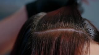 Professional hairdresser color hair girls. Close-up.