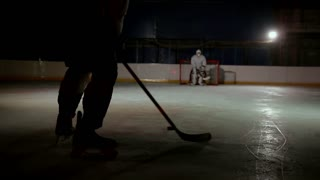Professional hockey players play the shootout. The player who takes the penalty a hockey goalkeeper. Steadicam