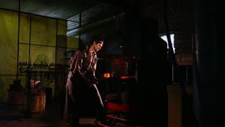 Red hot iron lingot on a press machine