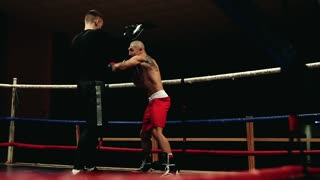 The professional trainer conducts training for the boxer