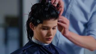 Women's haircut. hairdresser, beauty salon