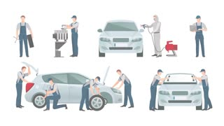 Auto mechanic car service footage
